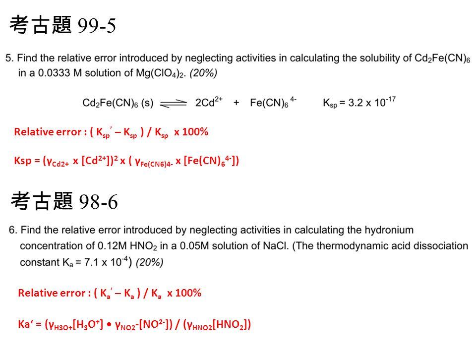 考古題 99-5 Relative error : ( Ksp' – Ksp ) / Ksp x 100% Ksp = (γCd2+ x [Cd2+])2 x ( γFe(CN6)4- x [Fe(CN)64-])